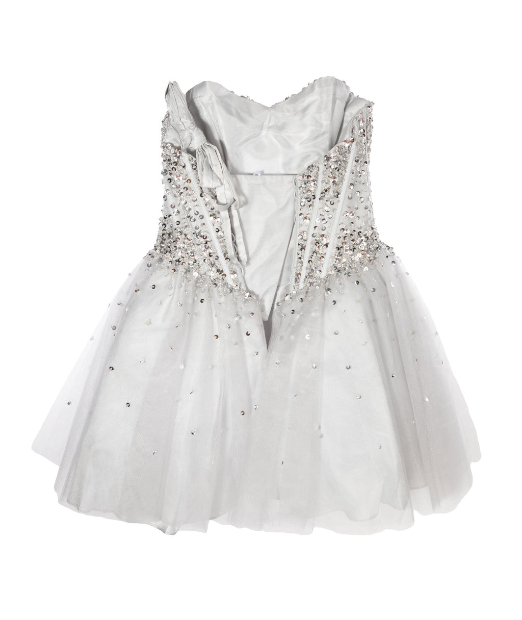 Jovani Girls All Silver Beaded Corset Dress