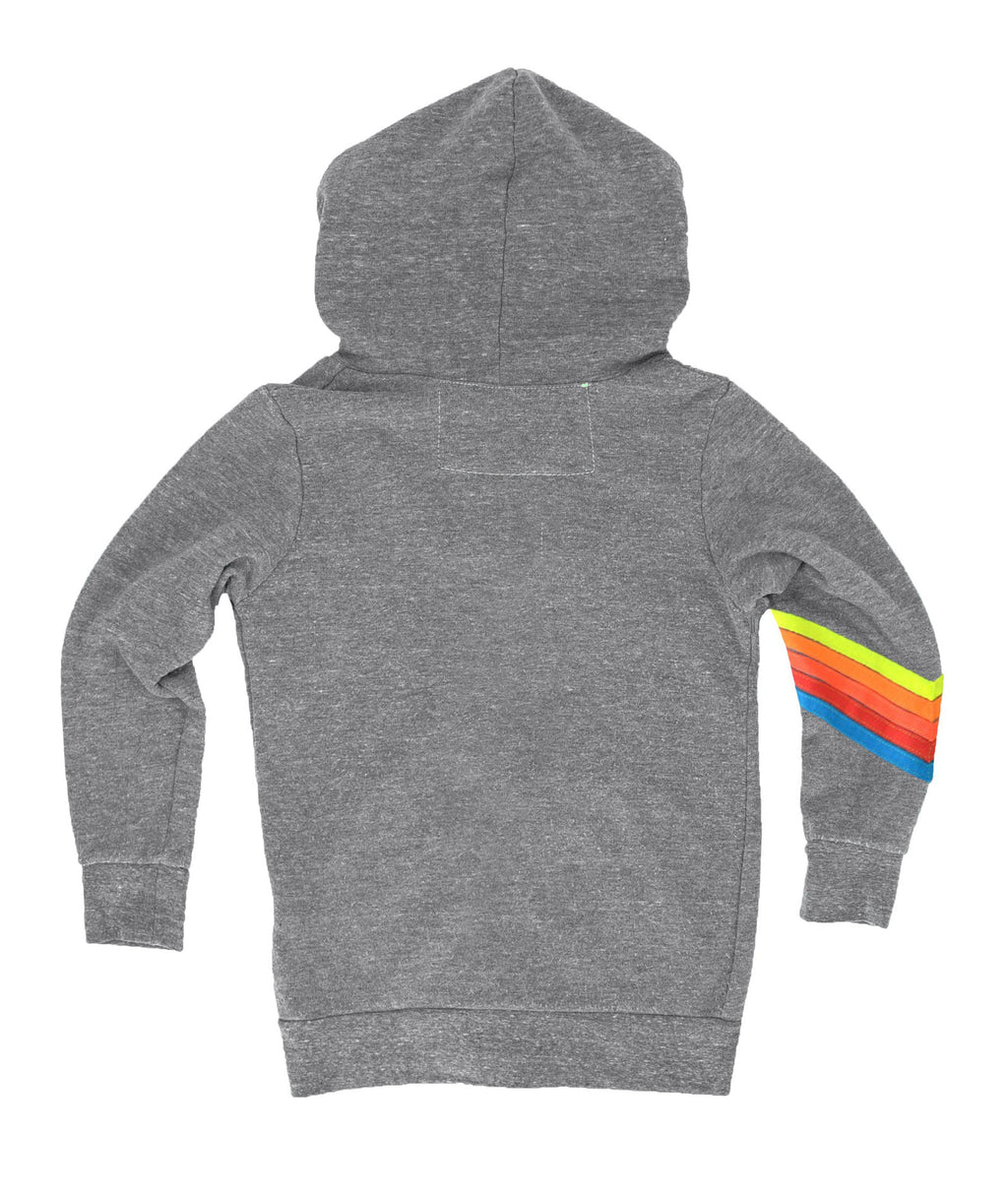 Aviator Nation Girls Heather Grey Neon Rainbow Chevron Bolt Zip Hoodie