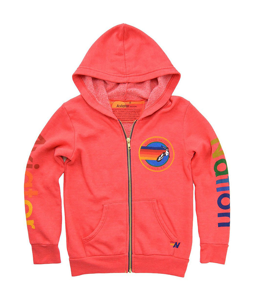 Aviator Nation Girls Neon Red Zip Hoodie