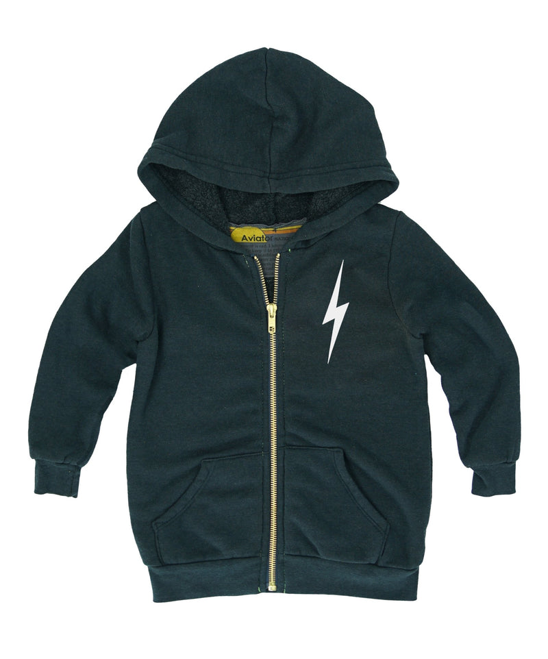 Aviator Nation Kids Charcoal White Bolt Zip Hoodie