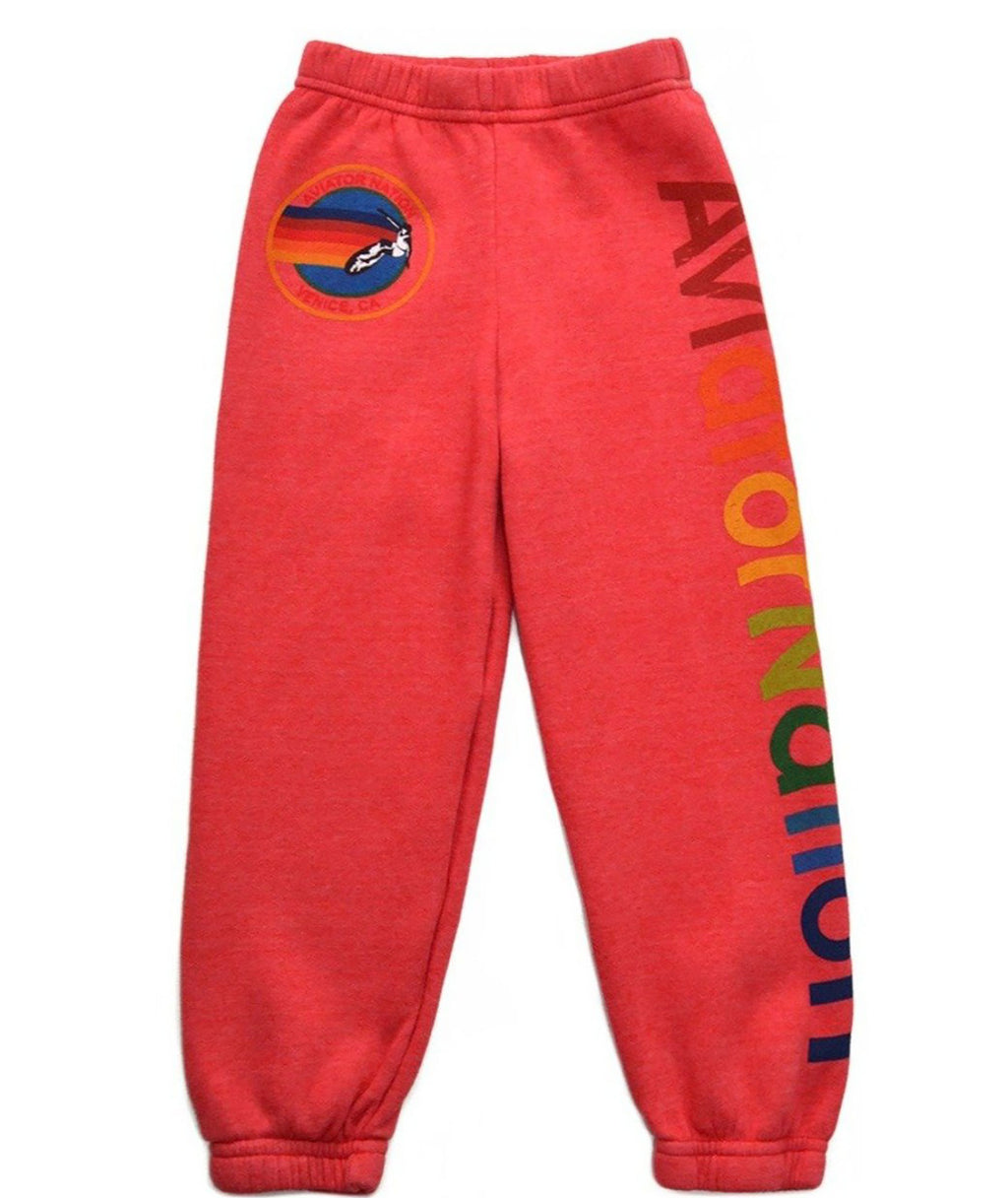 Aviator Nation Girls Neon Red Sweatpants