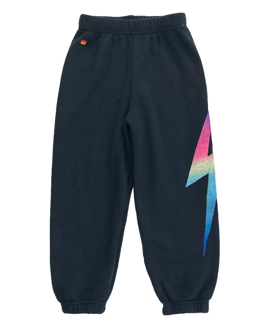 Aviator Nation Girls Charcoal Rainbow Pink Bolt Sweatpants
