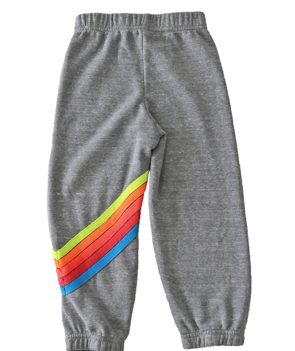 Aviator Nation Girls Heather Grey Neon Rainbow Chevron Bolt Sweatpants