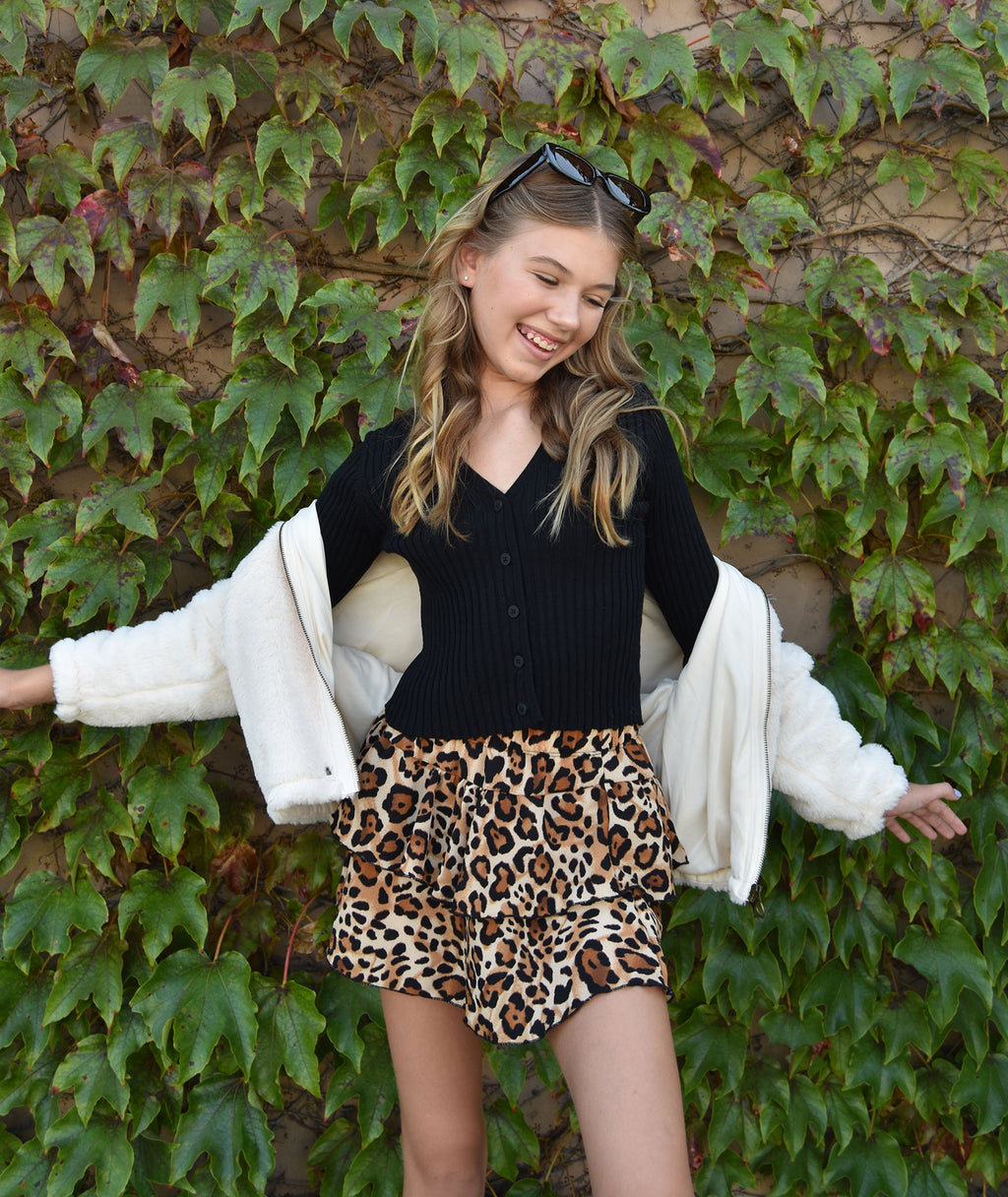 Katie J NYC Girls Lexi Leopard Ruffle Skirt