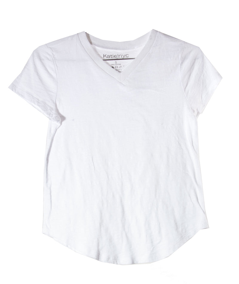 Katie J NYC Girls White V Neck Tee