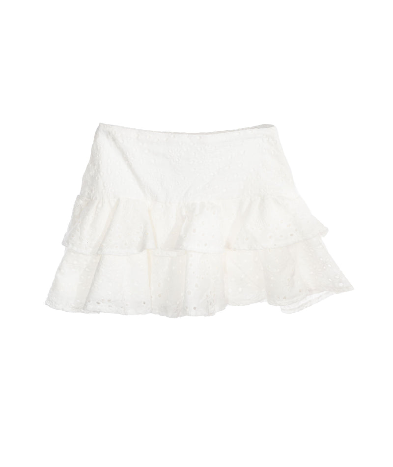 Katie J NYC Junior White Tiered Eyelet Skirt