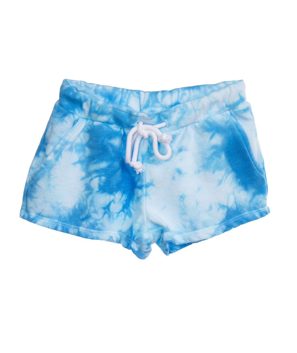 Katie J NYC Girls Frenchie Blue and White Tie-Dye Shorts