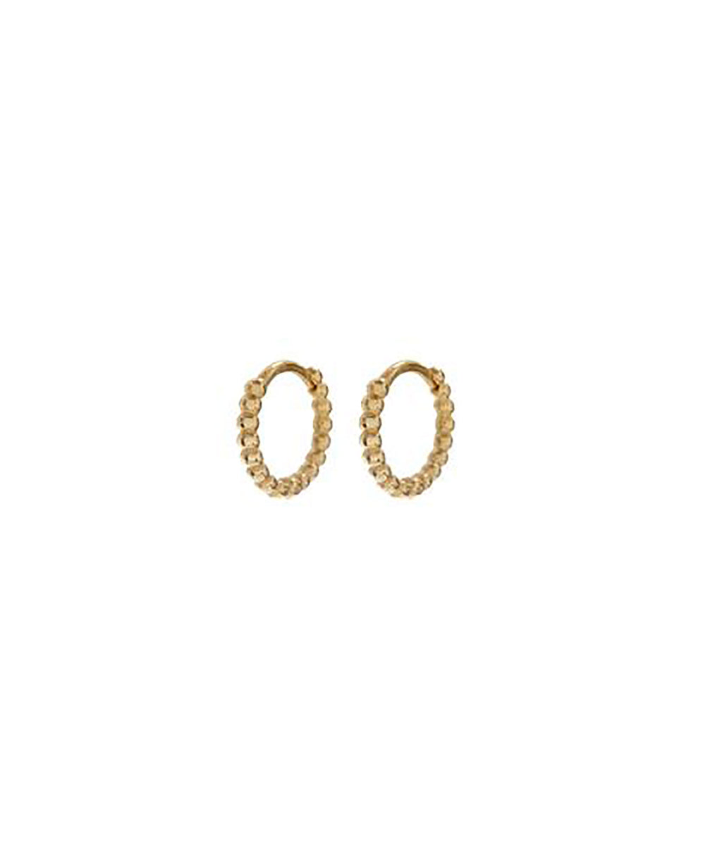 Luv AJ Mini Continuous Gold Beaded Huggies