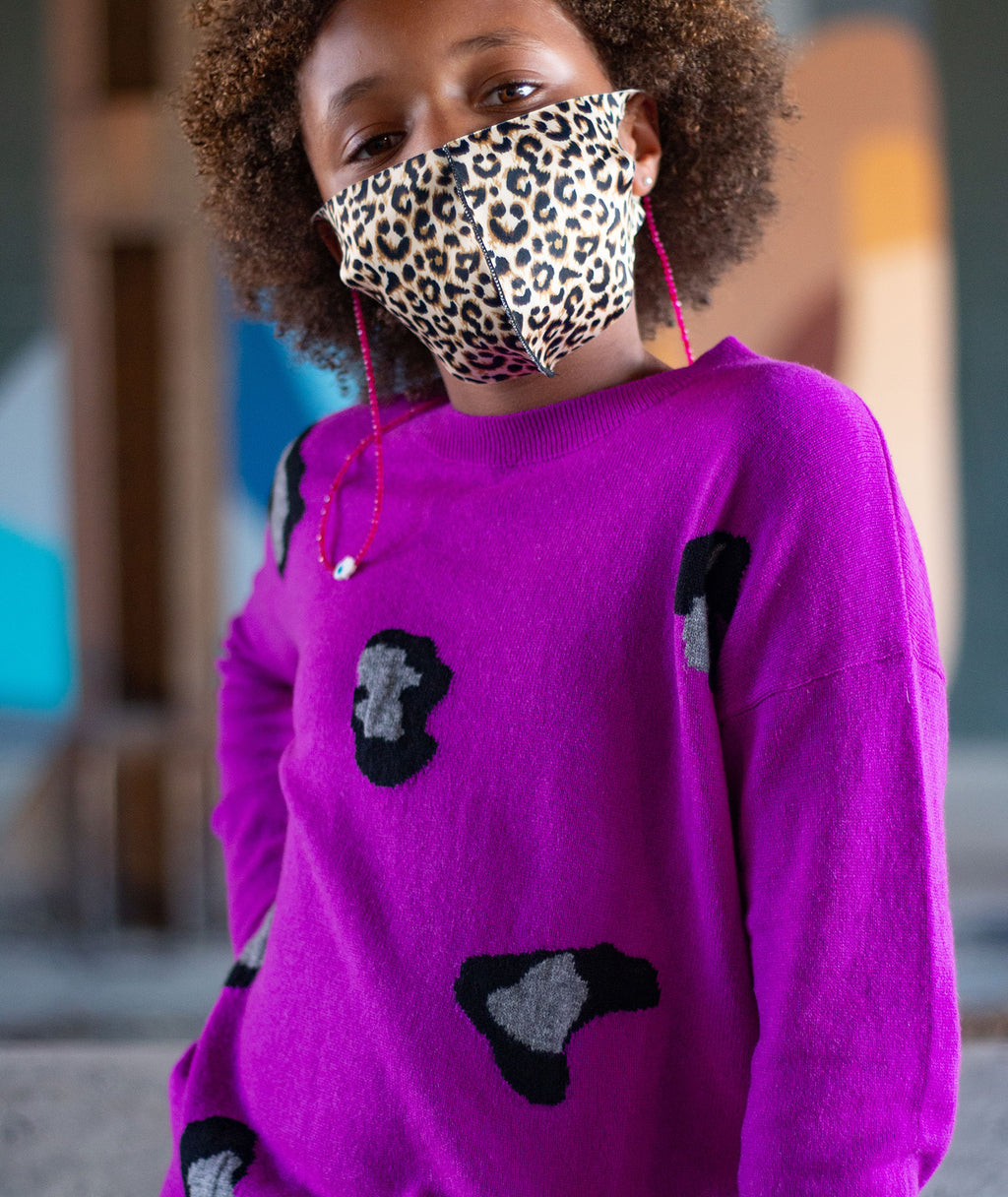 Autumn Cashmere Girls Leopard Razzle Sweater