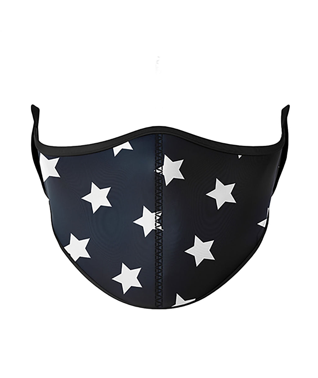 Top Trenz Black and White Star One Size Ages 8+ Face Mask