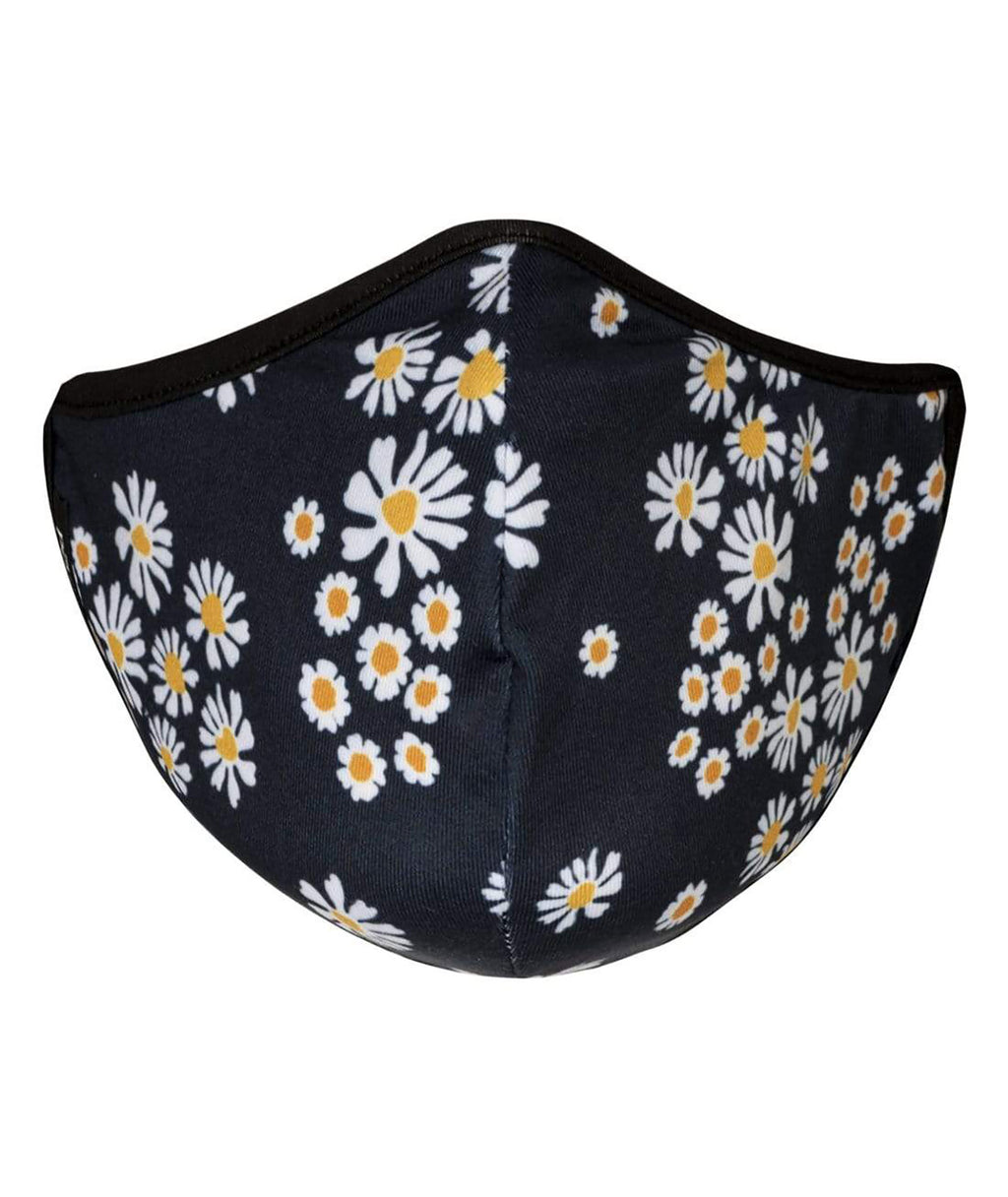 masQd Adults Mask With Filter Pocket Navy Daisy