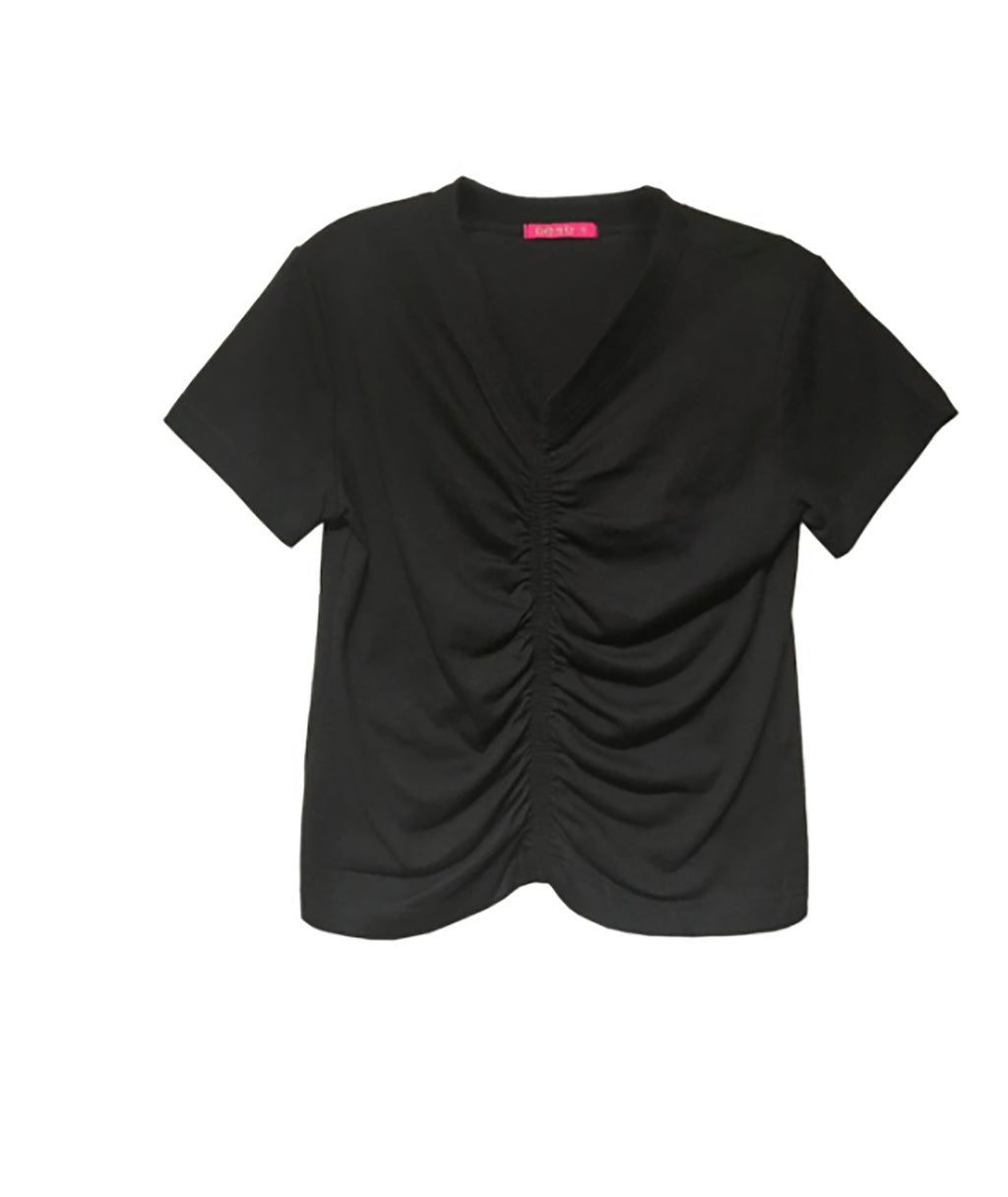 Me.n.u Girls Black V Neck Cinched Tee