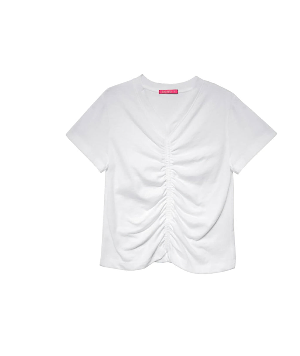 Me.n.u Girls White V Neck Cinched Tee