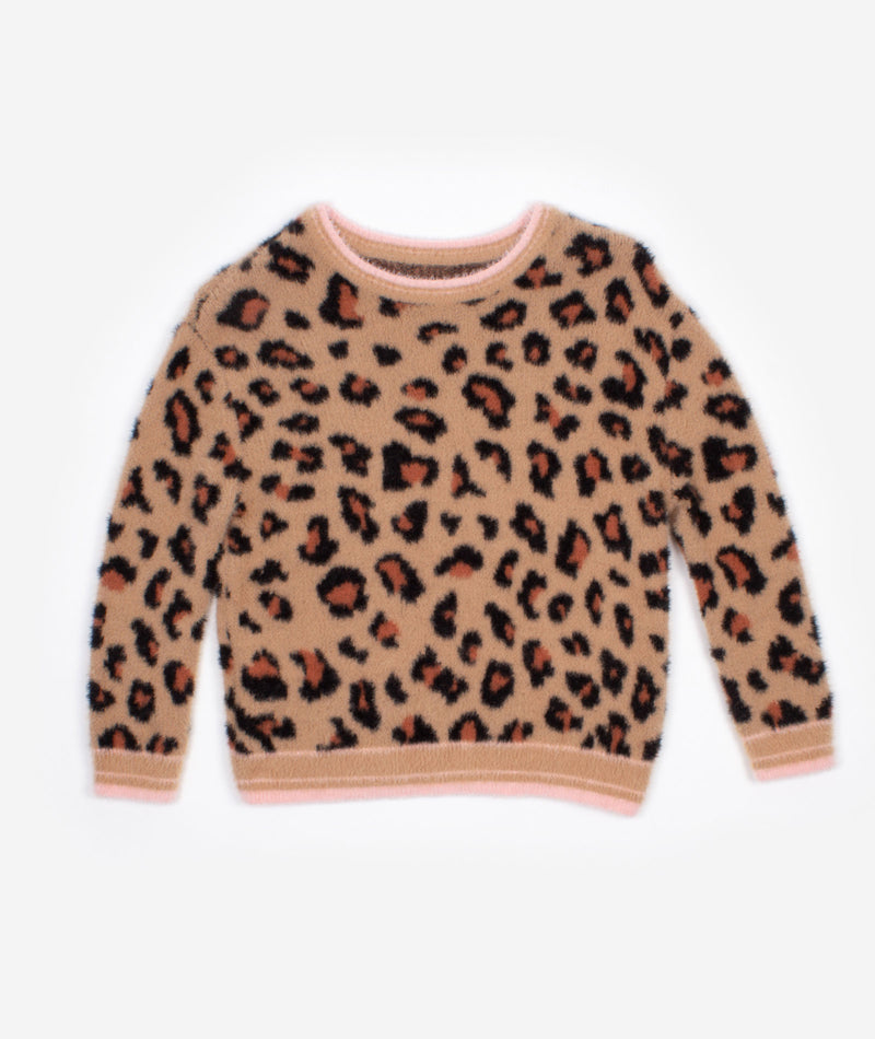 Nev & Lizzie Girls Tan Snow Leopard Sweater