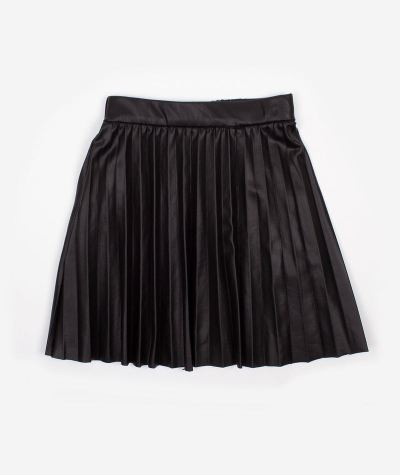 Nev & Lizzie Girls Black Faux Leather Pleated Skirt