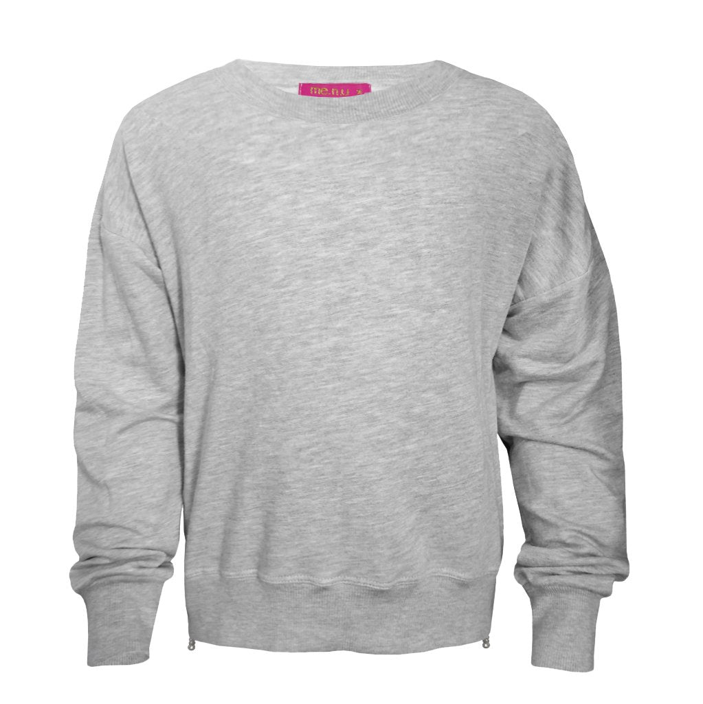 Me.n.u Side Zip Heather Grey Sweatshirt