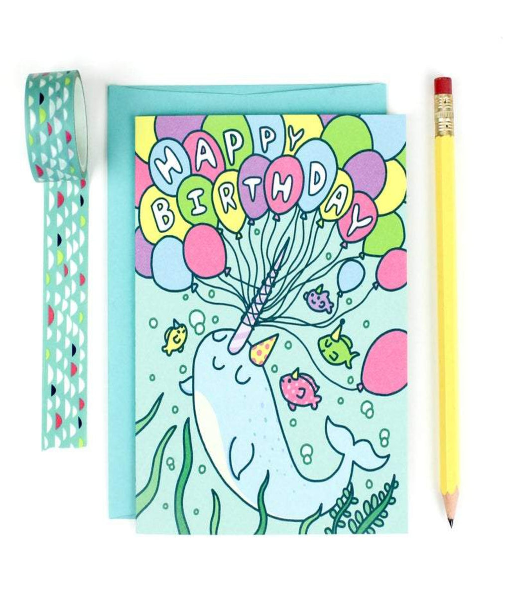 Turtle Soup Awesome Narwhal Birthday Card