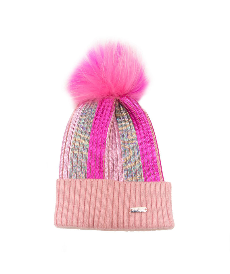 Bari Lynn Metallic Stripe Hat With Pouf