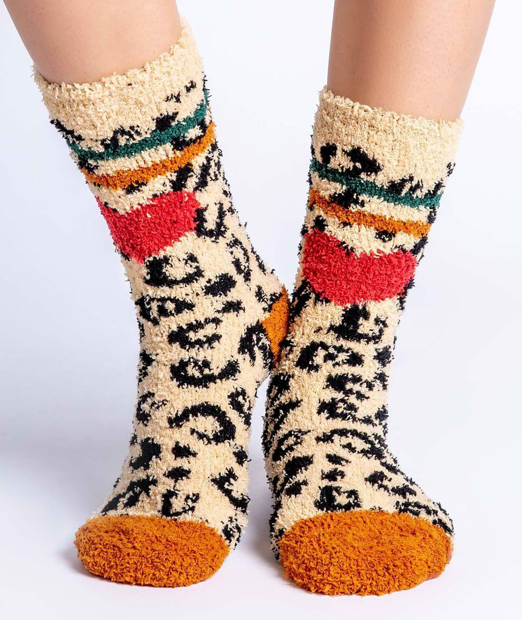 PJ Salvage Cozy Tan Leopard Socks