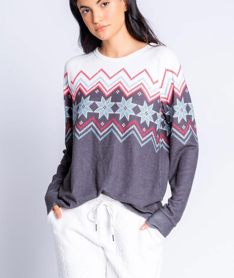 PJ Salvage Women Fairisle Long Sleeve Top Charcoal