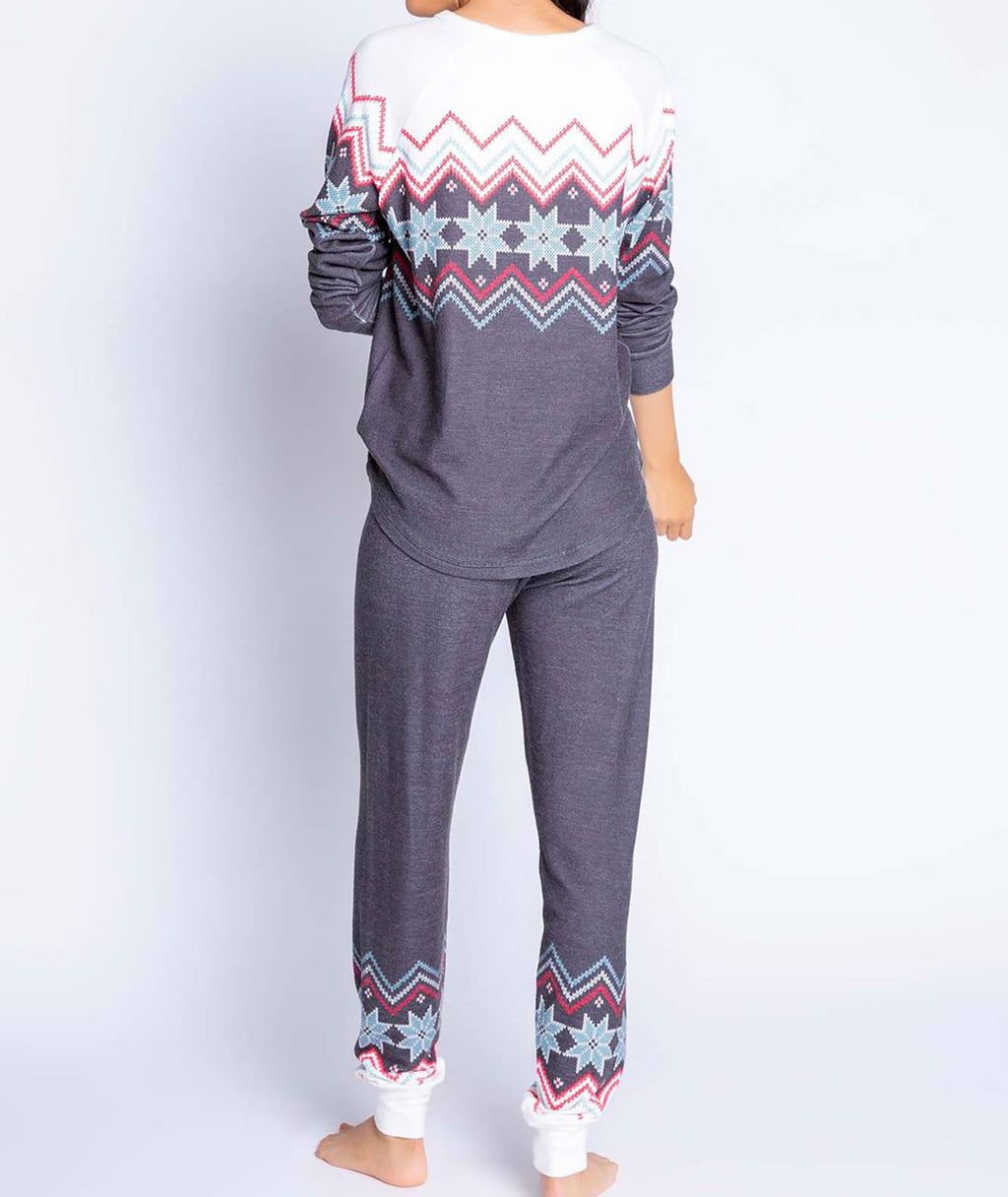 PJ Salvage Fairisle Jam Pants Charcoal