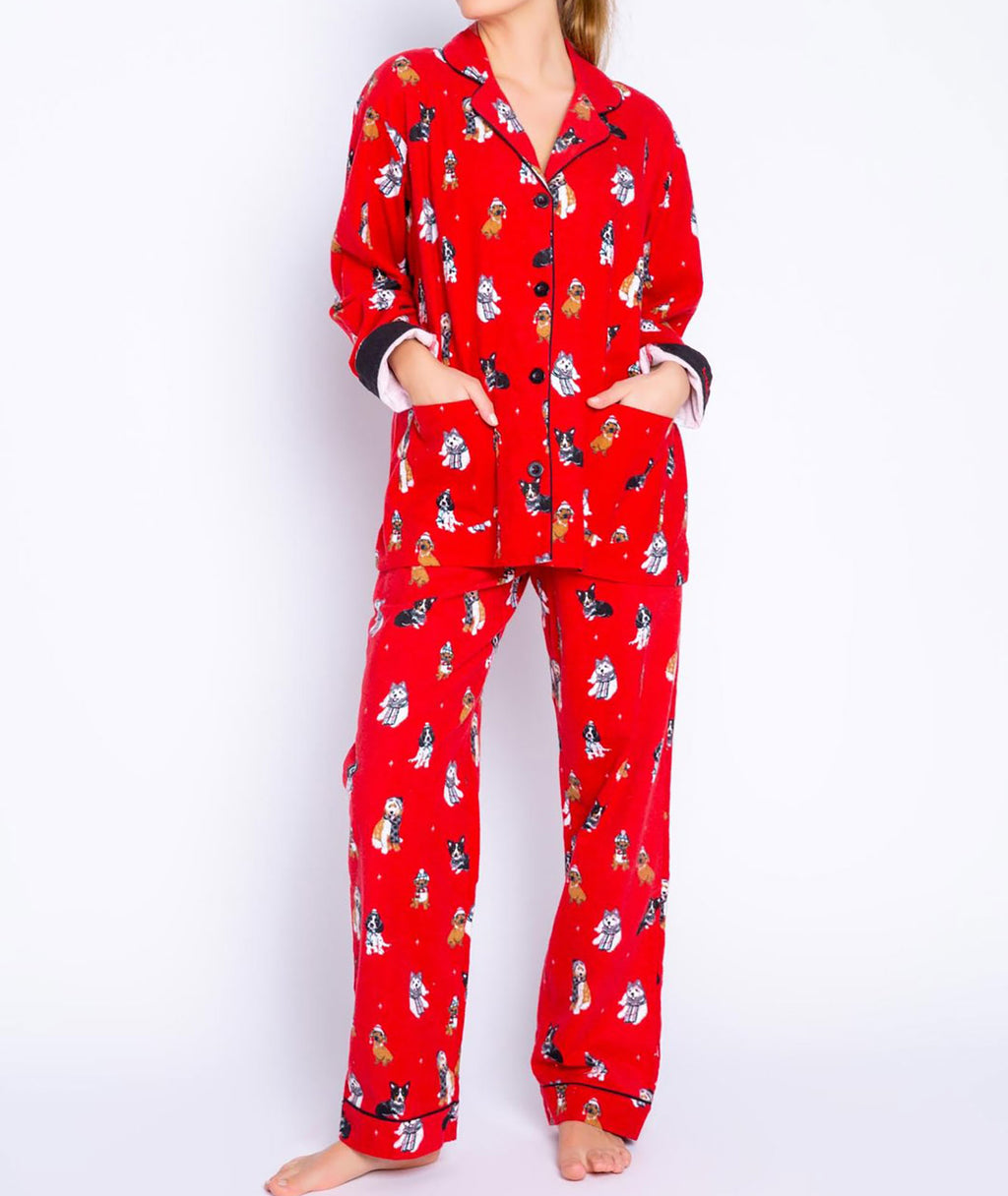 PJ Salvage Women Flannel PJ Set Red Dogs
