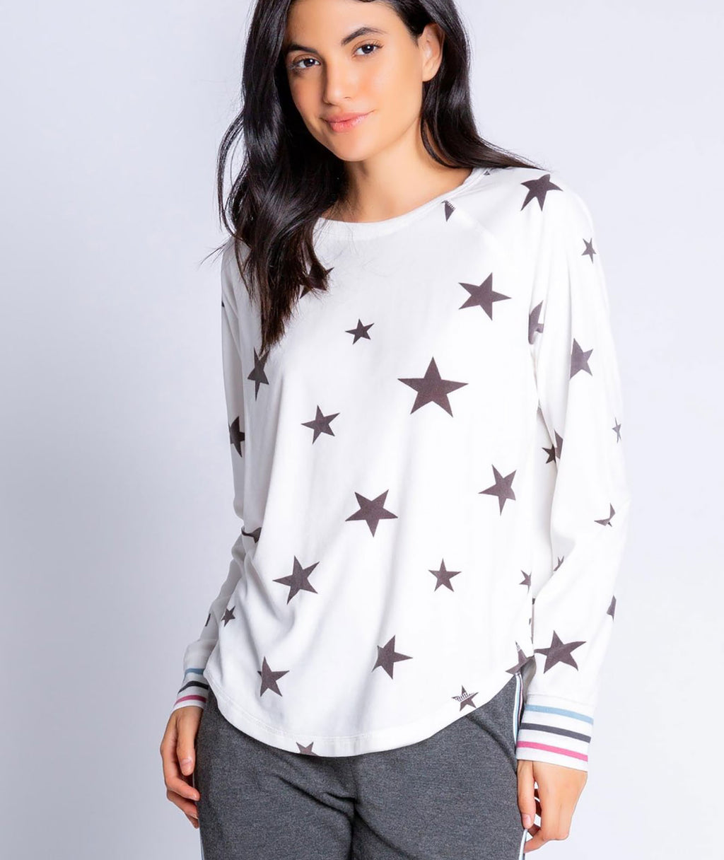 PJ Salvage Women Ivory Wish Star Sweatshirt