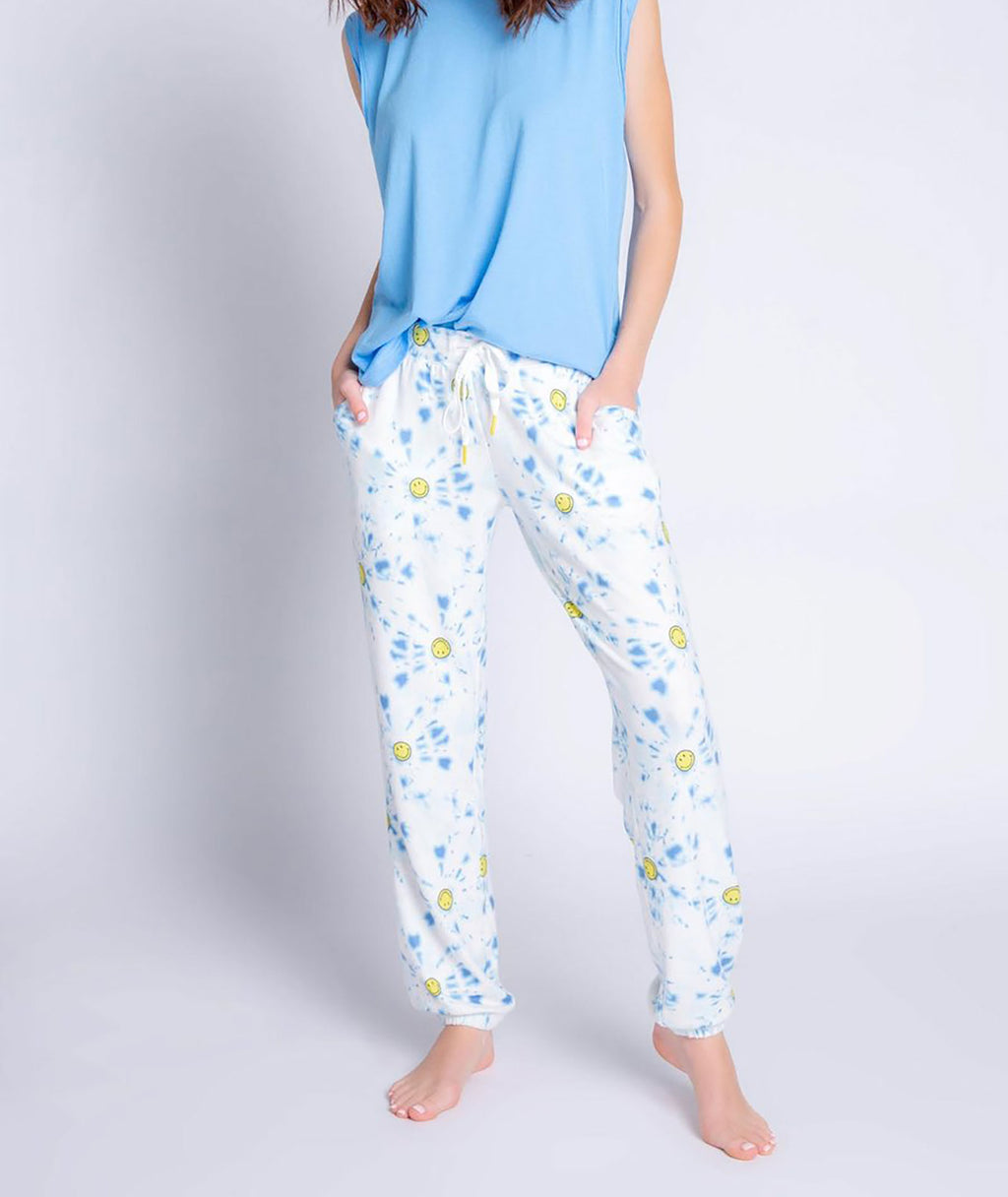 P.J. Salvage Women Blue Smiley Sweatpants