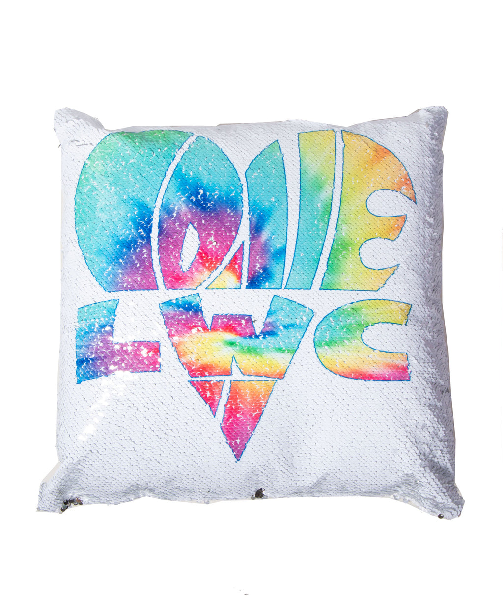 Reverse Sequin Pillow Love & Heart