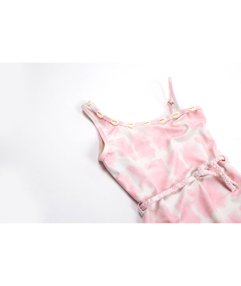 Shade Critters Girls Tie-Dye Pink One Shoulder Bikini