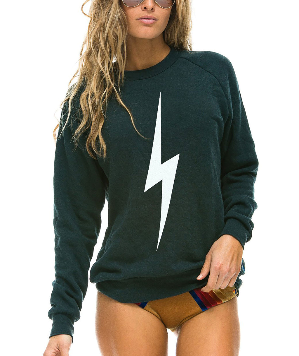 Aviator Nation Women Charcoal Bolt Crew Sweatshirt