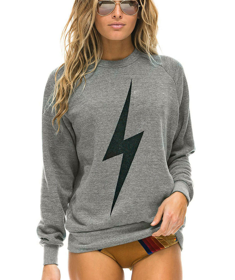Aviator Nation Women Heather Grey Bolt Crew Sweatshirt
