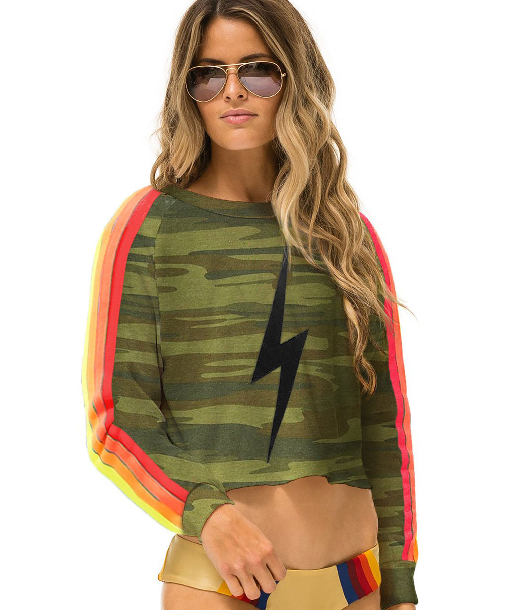 Aviator Nation Women Camo Neon Crop Crew Sweatshirt