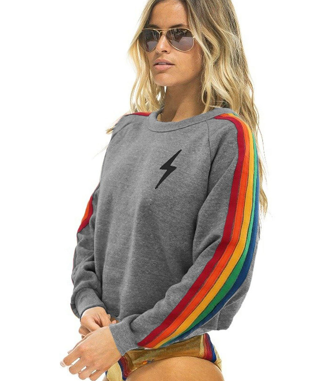Aviator Nation Women Heather Rainbow Bolt Crop Crew Sweatshirt