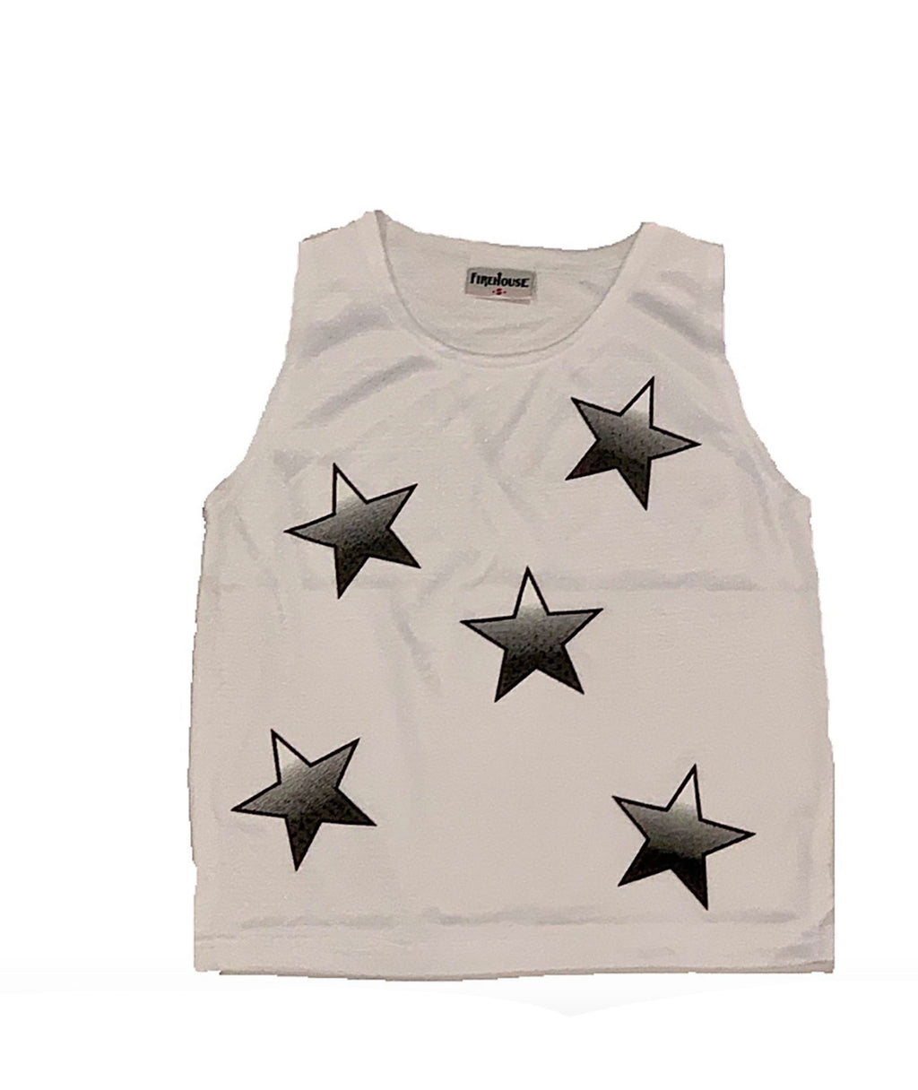 Firehouse Girls White Mesh Star Tank