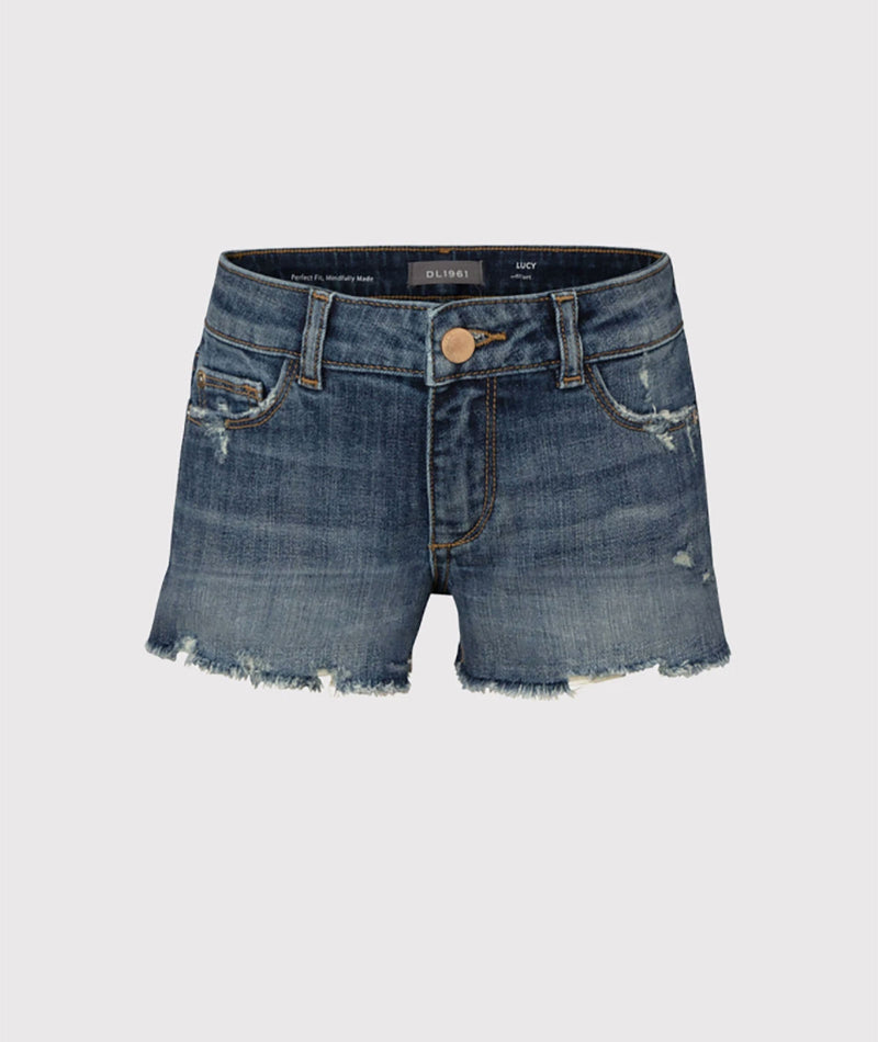 Pinc Denim Short Fray Hem Black