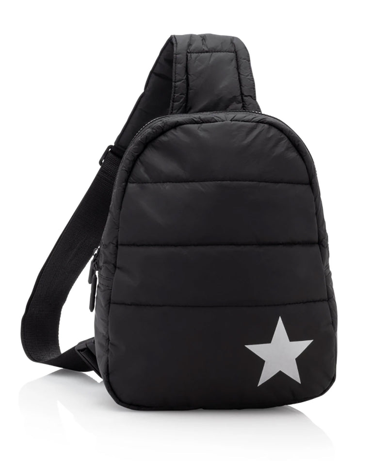 HI Love Travel Puffer Crossbody Backpack Black With Silver Star