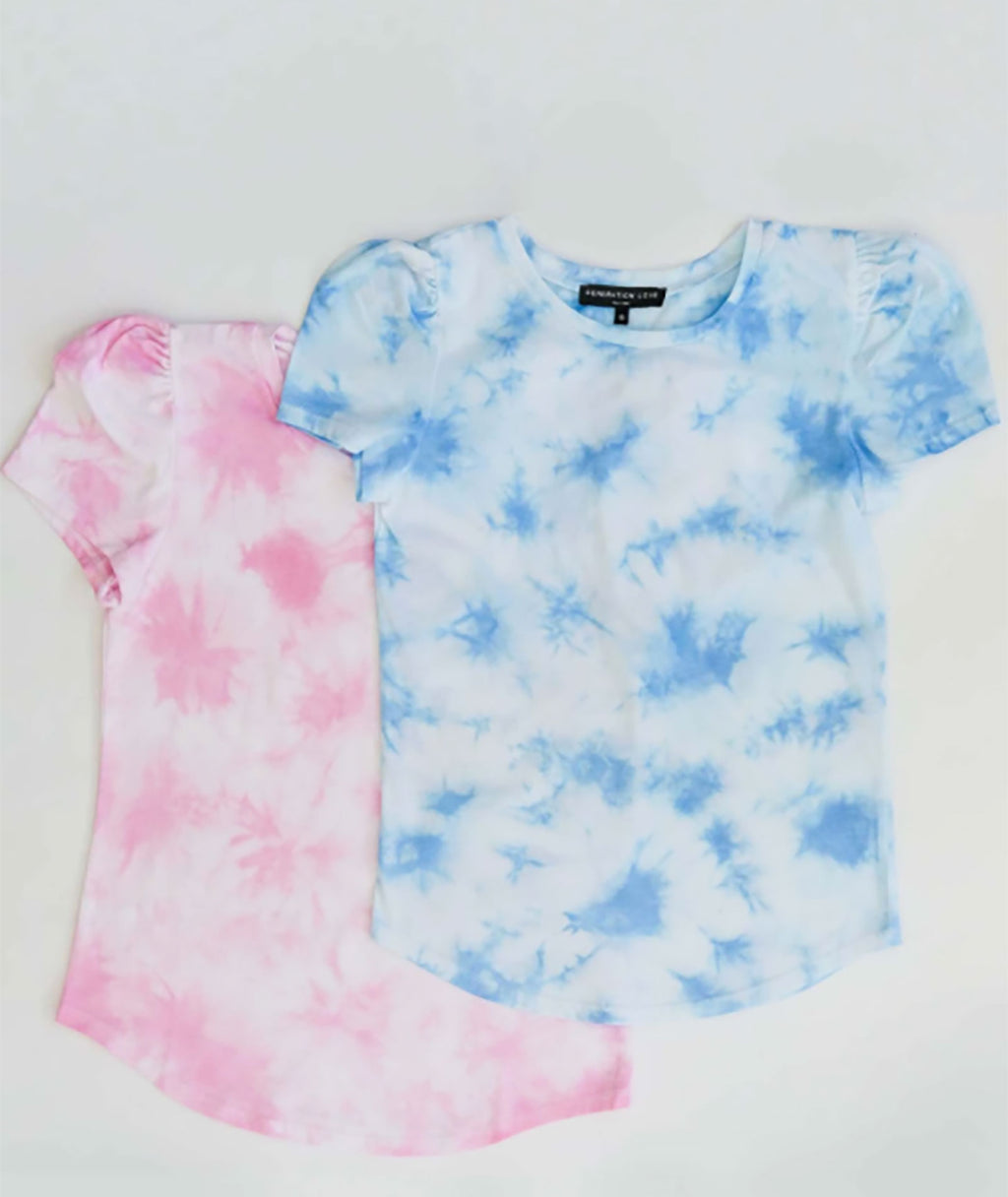 Generation Love Women Kelly Blue and White Puff Tee