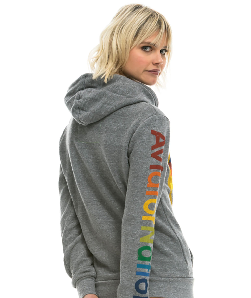 Aviator Nation Women Heather Grey Pullover Hoodie