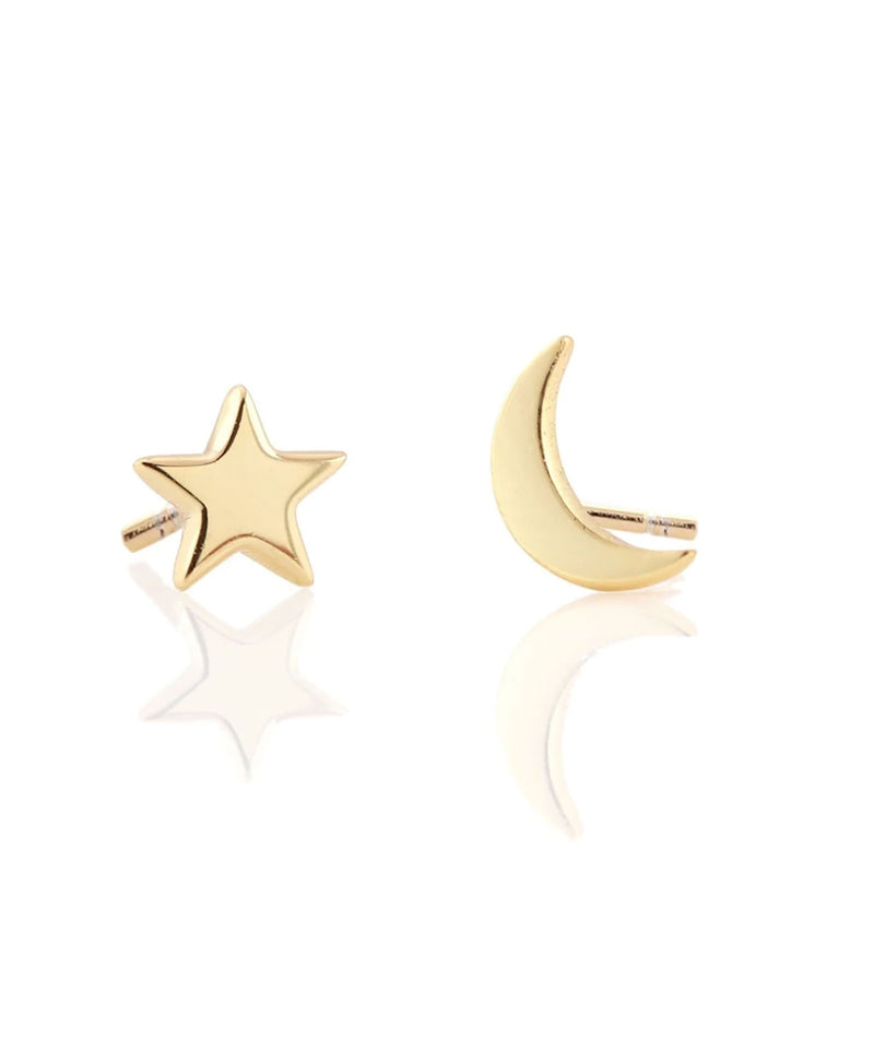 Kris Nations Star and Moon Gold Stud Earrings