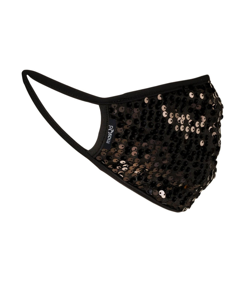 masQd Adults Mask With Filter Pocket Black Sequin