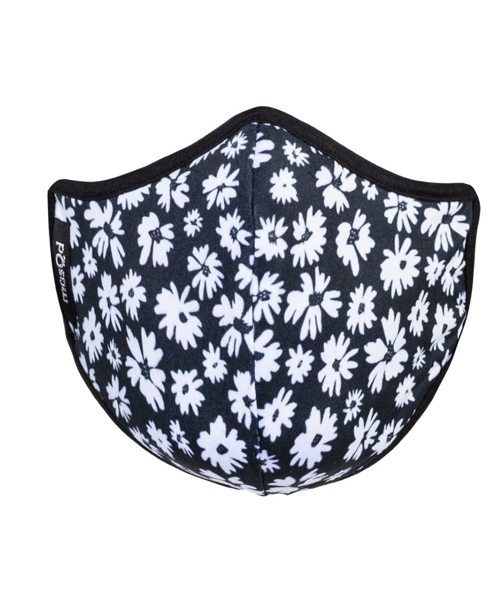 masQd Kids Mask With Filter Pocket Black Floral
