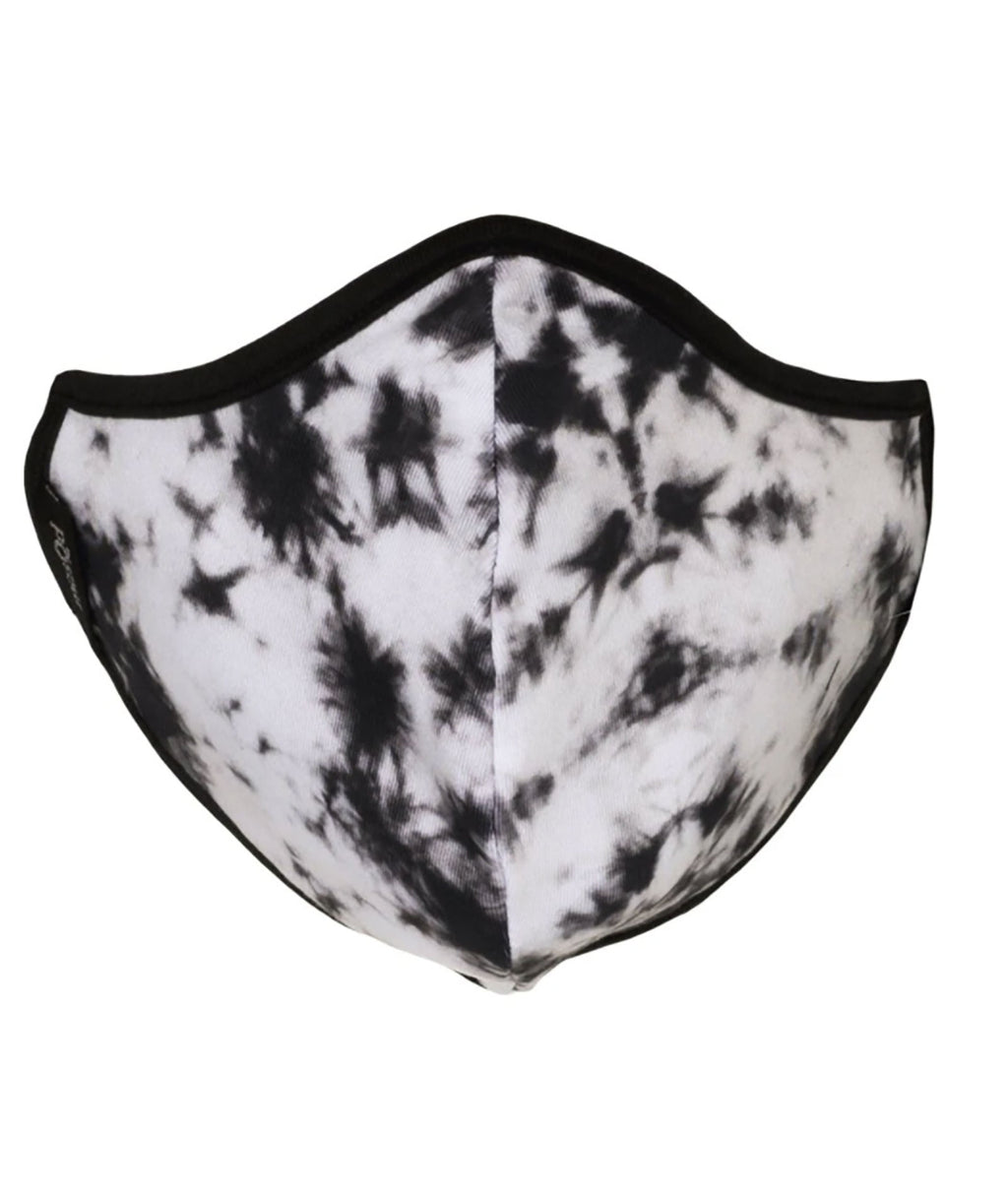 masQd Adult Mask With Filter Pocket Black and White Tie-Dye