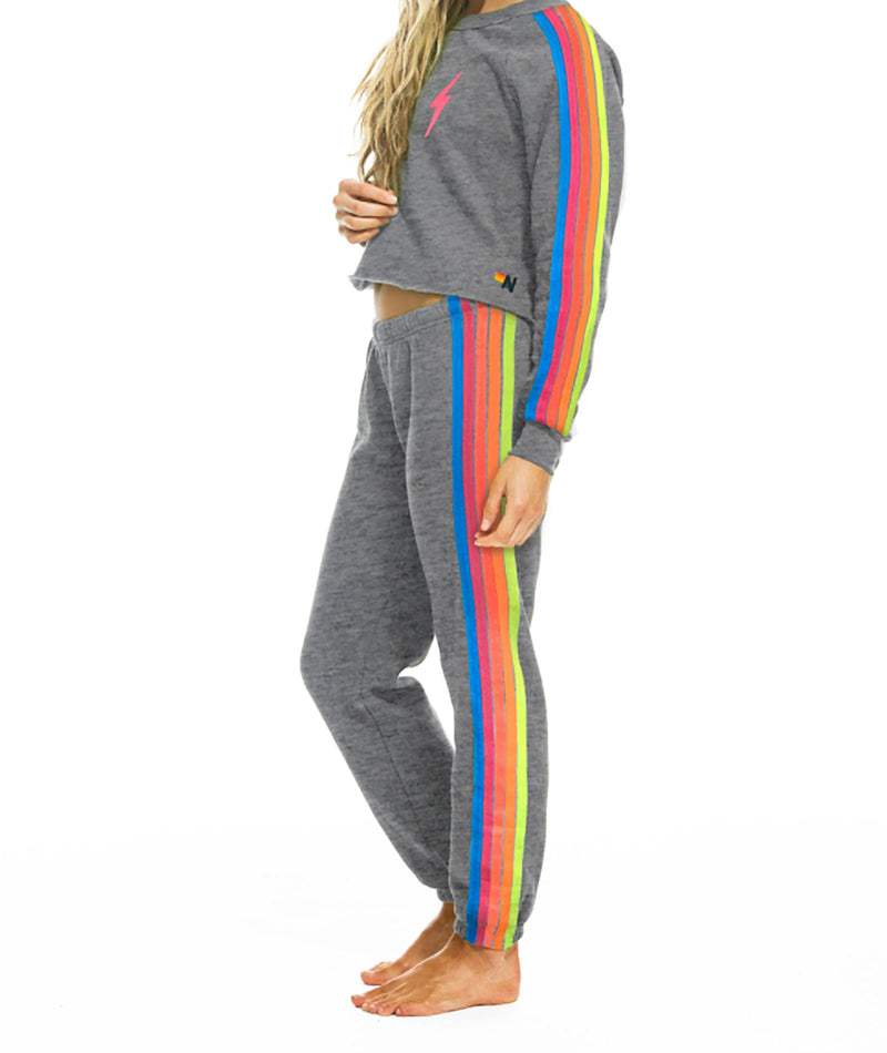 Aviator Nation Women Heather Neon Rainbow Bolt Crop Sweatshirt