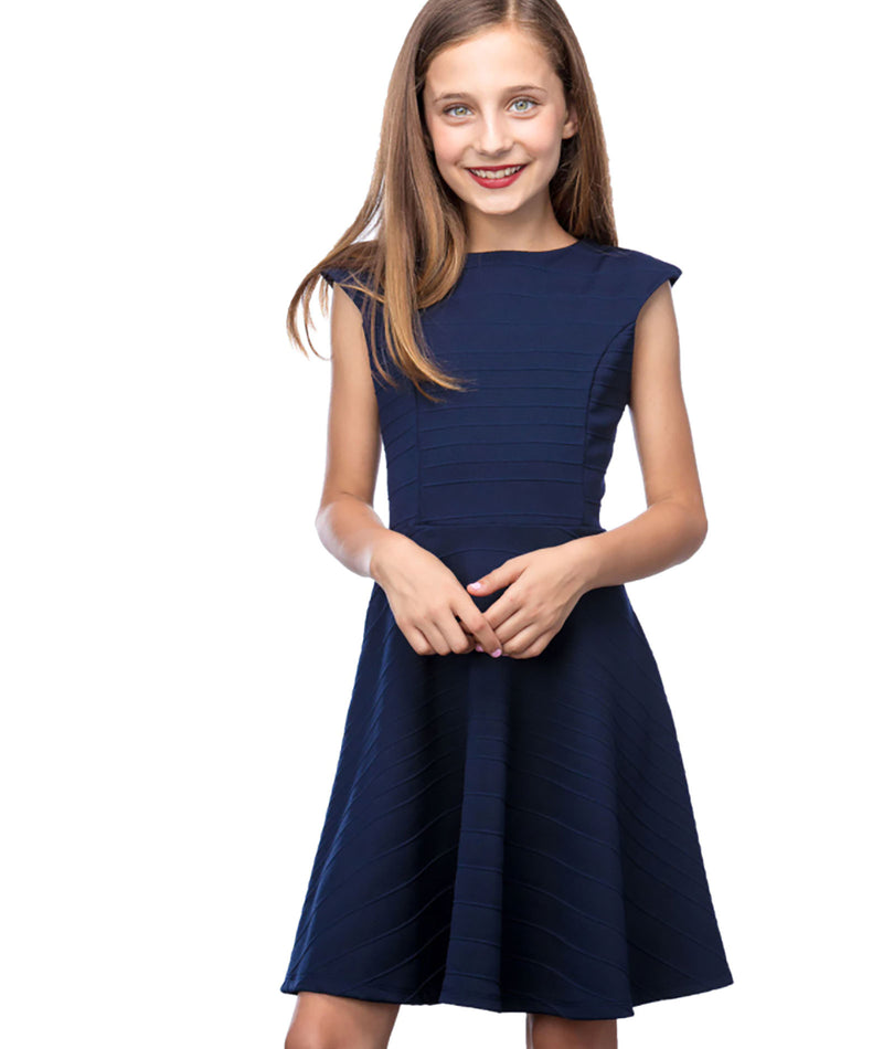 By Debra Girls Navy Ruffle Bodice Dress
