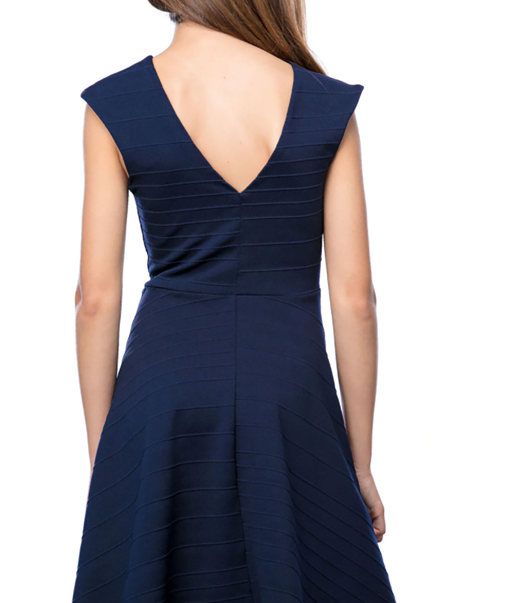 Un Deux Trois Girls  Navy V Back Dress
