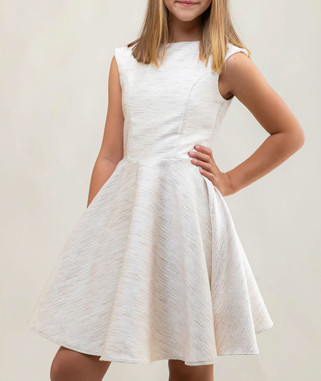 Un Deux Trois Girls Gold and Silver Cap Sleeve Dress