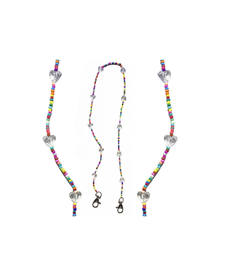Bari Lynn Rainbow Clear Hearts Mask Chain