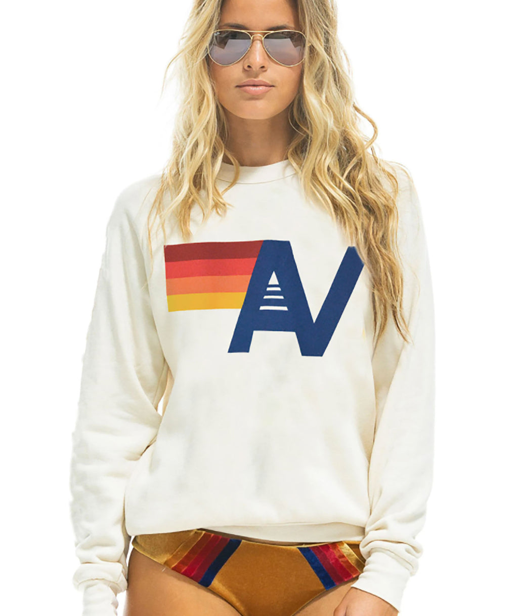 Aviator Nation Women White Logo Crew Sweatshirt