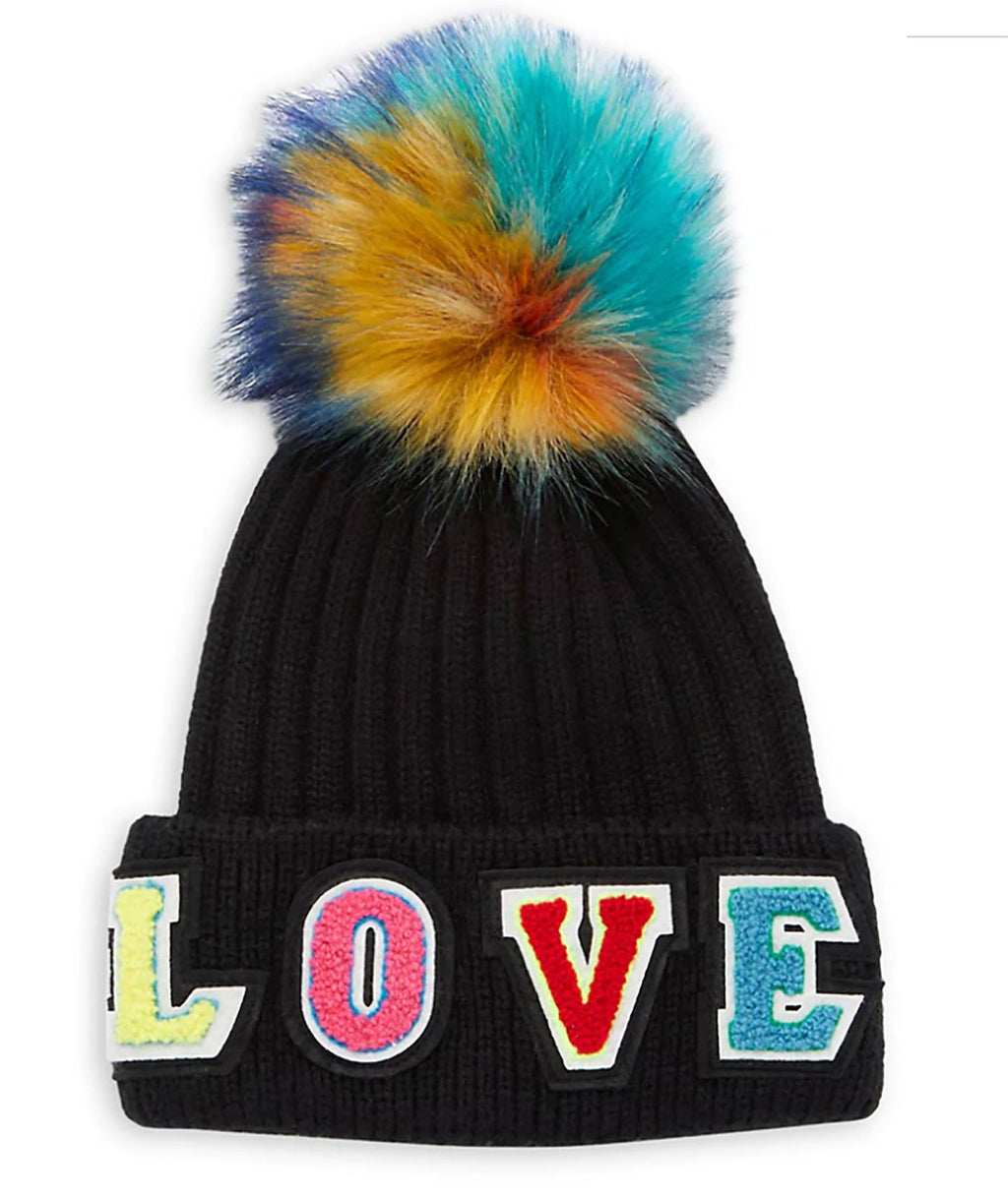 Jocelyn Kids Black Love Hat With Faux Fur Pom